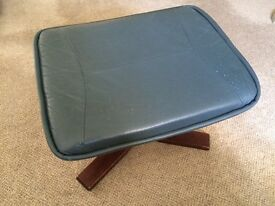Blue leather footstool - wooden legs, good condition