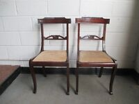 PAIR OF MAHOGANY SABRE LEG CHAIRS FREE DELIVERY