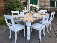 Dining Table & 6 White Chairs ~ Rectangular Farmhouse Pine
