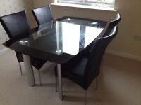 Glass Dining Table and Chair set (Good Condition)
