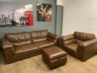 LEATHER 3 PIECE SOFA SET 3 SEAT 1 ARM CHAIR AND FOOTSTOOL IN GOOD CONDITION