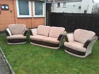 Cream and brown 2 seater and 2 chairs