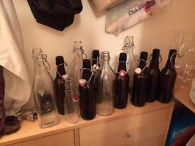 Mixture of bottles for beer, wine, slow gin making