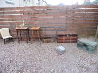 VINTAGE/ANTIQUE TRAVEL TRUNK,TABLES,LEATHER CASES,POLICE BOX,BRASS,CHAIR ETC