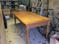 Antique Pine Kitchen Table, with turned legs and two drawers. Easily seat six.