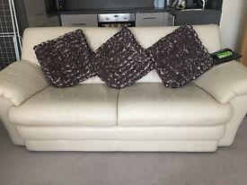 Cream leather 3 seater & single seat sofa