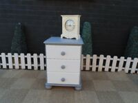 SINGLE SOLID PINE BEDSIDE CABINET PAINTED WITH LAURA ASHLEY PALE DOVE AND PARIS GREY