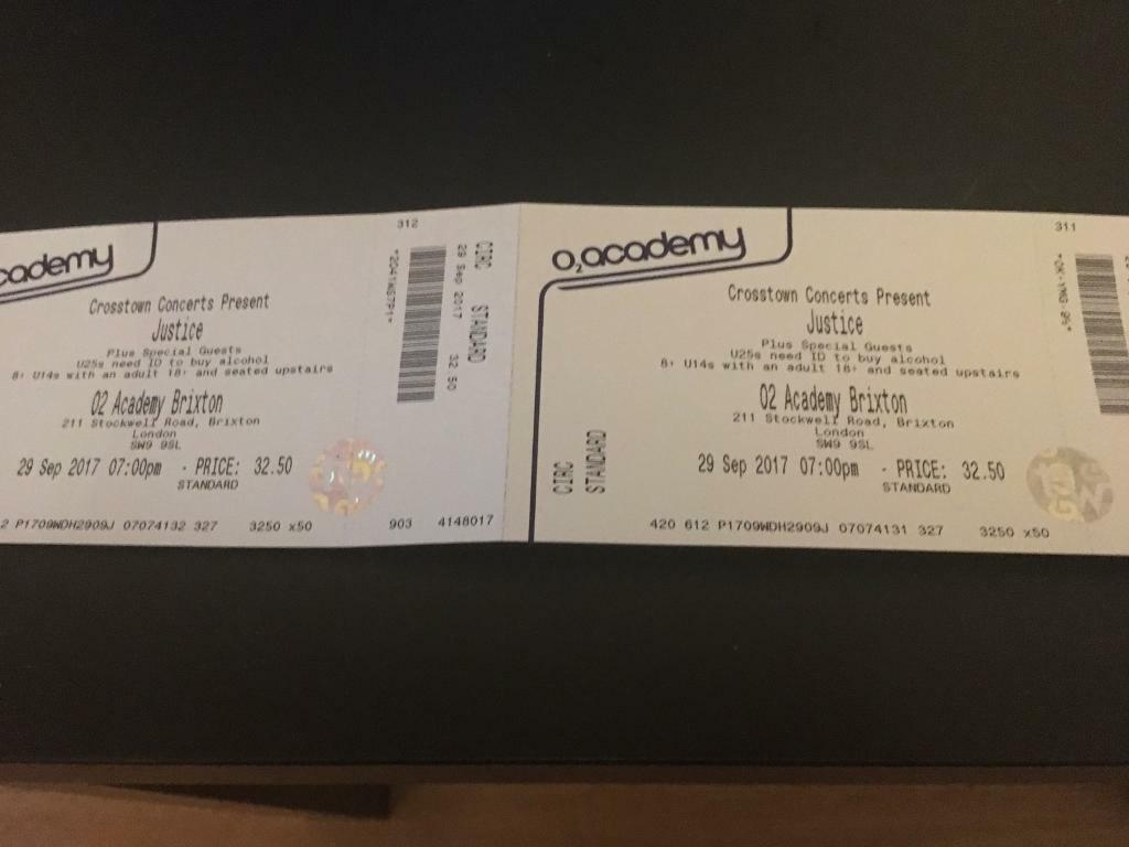 Justice O2 Brixton Academy 2 tickets 29 Sept