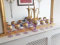 Murano Venetian Decanter and Glasses Set