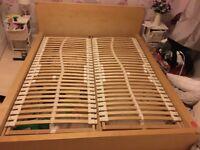King size bed. Ikea low malm in white wash oak