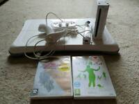 Wii console plus accessories, Wii fit board plus game and Legend of Zelda game