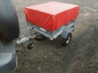 Indespension daxara car tipping trailer with extra high lockable box and cover