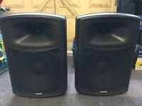 300W X2 Sound Lab speakers with stands & leads