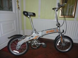 SMALL FOLD-UP BIKE, SINGLE SPEED/GEAR, 16 INCH WHEELS, ALUMINIUM FRAME