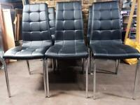 Set Of Six Faux Leather Dining Chairs