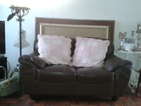 Brown faux leather 2 Seat Sofa