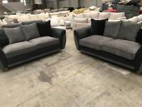 Brand new 3 + 3 seater black and grey sofas