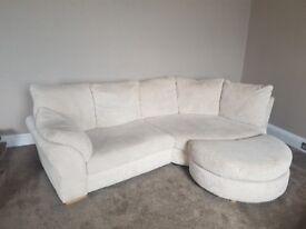 Corner Sofa + 2 Three Seater Sofas and Foot stools