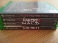 Microsoft Xbox One games in Good Condition (halo 5, metal gear phantom pain, farcry & Battlefield 1)