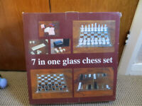 7 IN ONE GLASS CHESS SET=BRAND NEW BOXED
