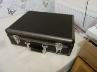 ATTACHE CASE, LINED AND LOCKABLE WITH KEYS. BLACK, METAL TRIM