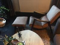 70s retro mid century danish chair and foot stool Wagner Eames
