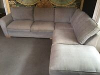 Lovely Sofa, professionally cleaned, extra comfy, large corner sofa for sale - grey.