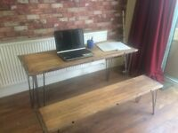Rustic solid Beech Desk with Hairpin Legs and Bench with Hairpin Legs - All SOLID HEAVY BEECH WOOD