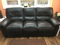 Three seater with two recliners black colour leather sofa bought from Harveys three years ago