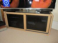 TV Cabinet- wooden with glass top and doors