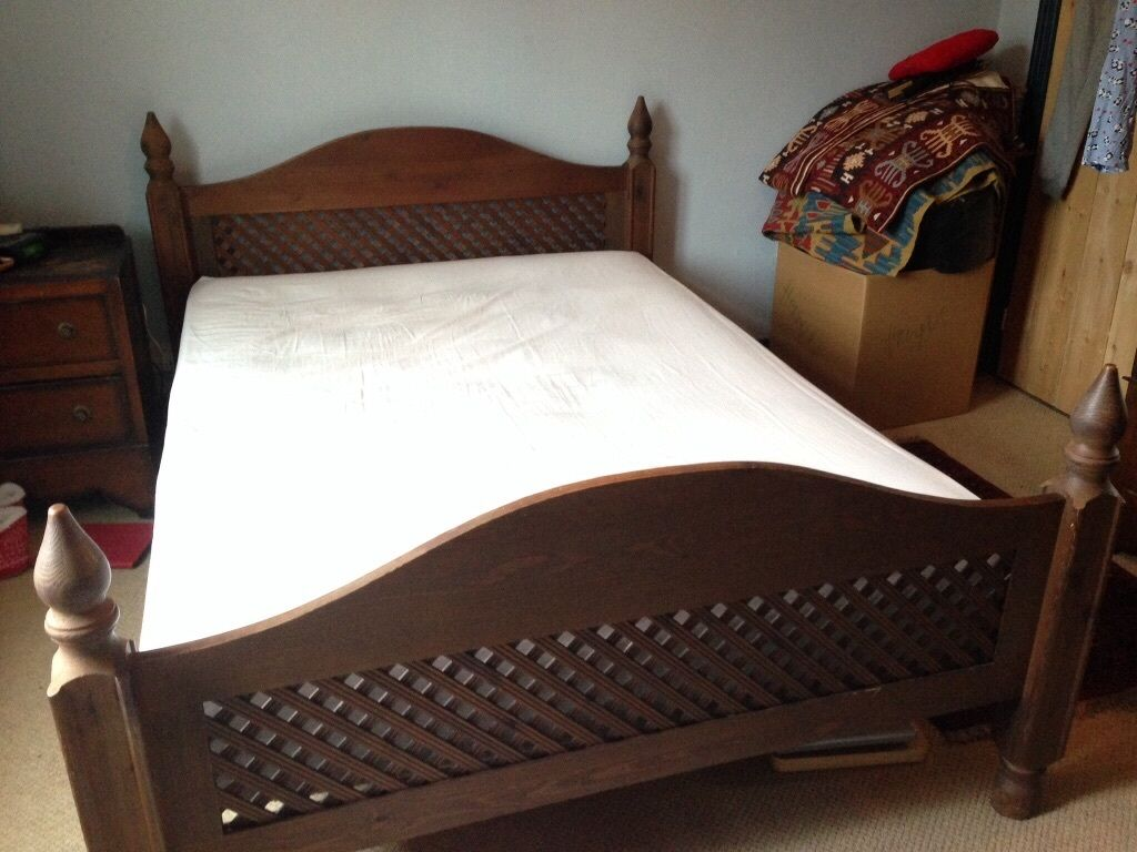 Wooden Moroccan style bed frame - double, only selling due to house ...