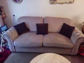 3 seater sofa + swivel armchair + scatter cushions.