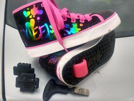 Heelys Veloz Black Rainbow Metallic Shoes UK SIZE 2 with key and caps