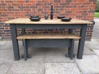 Handmade solid wood plank top dining/kitchen table & bench. Rustic/industrial/ farmhouse.