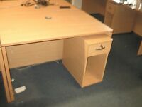 WOODEN OFFICE DESK / TABLE / WORKSTATION WITH PEDESTAL UNIT - MORE AVAILABLE