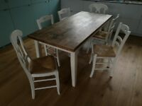 Solid oak topped table and 6 matching chairs