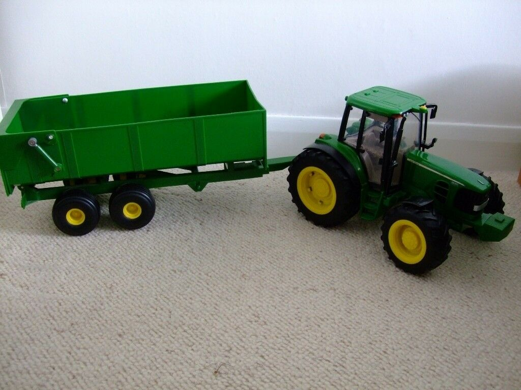 bruder farm toy - john deere tractor and trailer (scale 1:16) | in