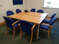 Large boardroom table with 8 chairs