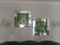 Glass frame pictures (pair) £35... Green lamp £30