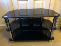 Tv Stand Black Glass / Metal 80cm