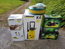 Brand New. Karcher K4 Pressure Washer, Karcher Wood Cleaning Kit, & Accessories .
