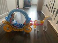 Disney Cinderella doll and carriage with horse