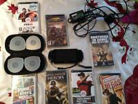 PSP CONSOLE + 7 PSP GAMES