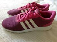 Ladies/girls pink & white Adidas trainers UK 5.5