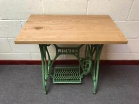 Jones Sewing machine table/cast iron base/oak top/powder coated/furniture/desk