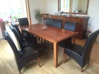 Solid Cherry Wood Table, Sideboard, Mirror and 8 leather look Chairs
