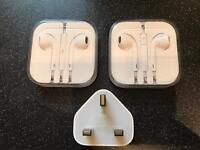 Genuine Apple wall plug and ear pods new