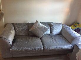 Silver crushed velvet sofas