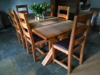 Traditional Oak Table 2 Metres long with 6 chairs by Four Corners Cabinet Makers