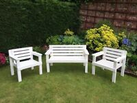 garden bench and chairs